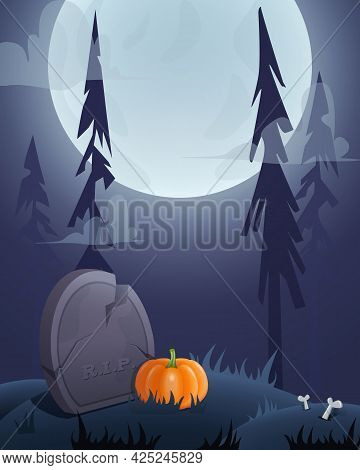 Halloween Card Background With Graveyard, Grave, Moon And Pumpkin