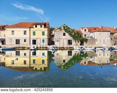 Old Historic Houses In Vrboska Village, Hvar Island, Dalmatia, Croatia, Europe. Travel And Vacation