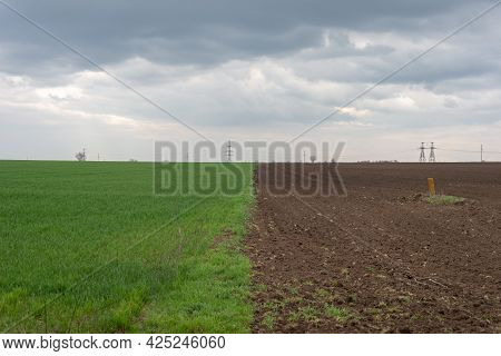 Half Field And Half Plough Of Land Before The Storm.
