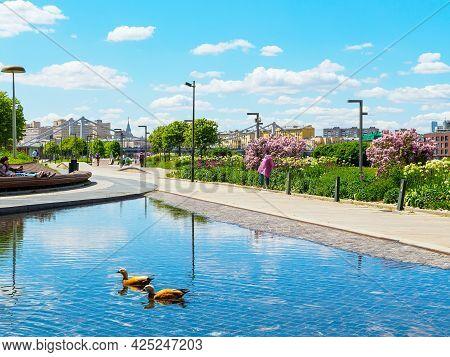 Moscow, Russia - May 25, 2021.: Yakimanskaya Embankment, Park Of Arts
