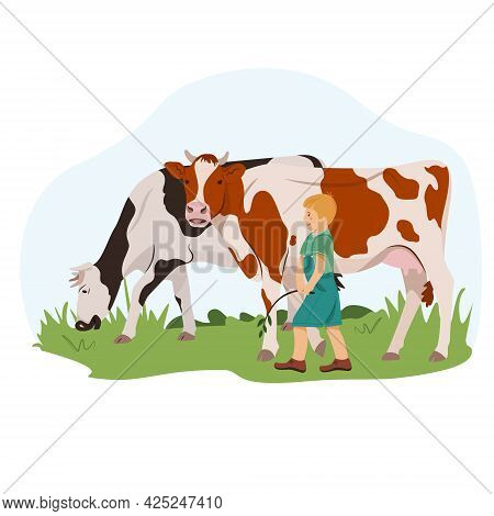 A Farmer Boy Grazes The Cows. Happy Guy Walks On A Green Lawn With Cows. Cute Vector Illustration In