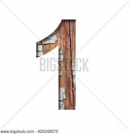 Vintage Backdrop Font. Digit One, 1 Cut Out Of Paper Against The Background Of An Old Wooden Wall Wi