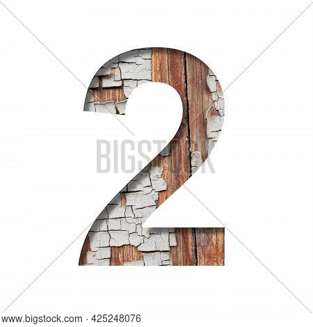 Vintage Backdrop Font. Digit Two, 2 Cut Out Of Paper Against The Background Of An Old Wooden Wall Wi