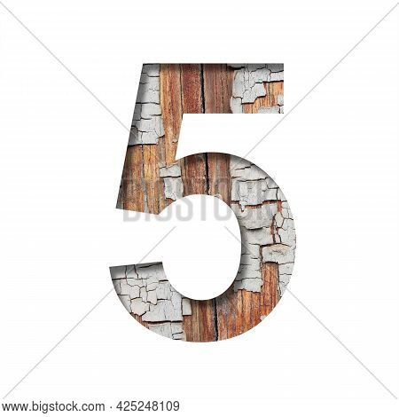 Vintage Backdrop Font. Digit Five, 5 Cut Out Of Paper Against The Background Of An Old Wooden Wall W
