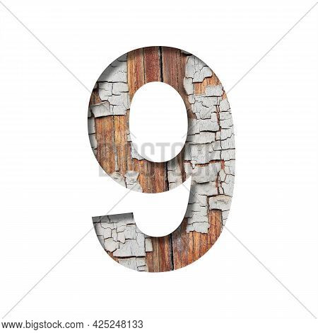 Vintage Backdrop Font. Digit Nine, 9 Cut Out Of Paper Against The Background Of An Old Wooden Wall W