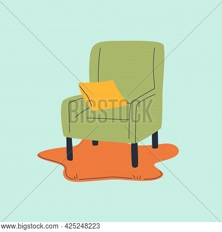 Armchair On Blob Rug Flat And Line Vector Illustration. Small Yellow Pillow On The Green Cozy Chair.