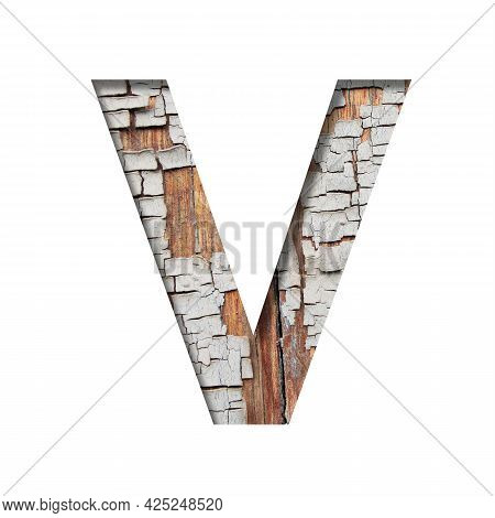 Vintage Backdrop Font.the Letter V Cut Out Of Paper Against The Background Of An Old Wooden Wall Wit