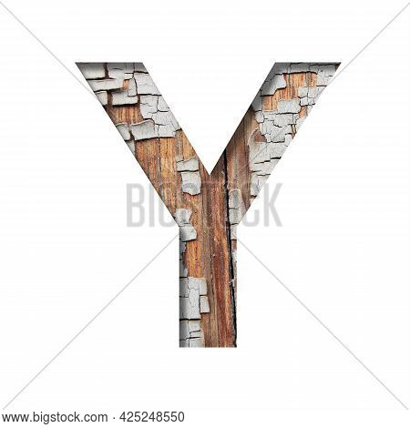 Vintage Backdrop Font.the Letter Y Cut Out Of Paper Against The Background Of An Old Wooden Wall Wit