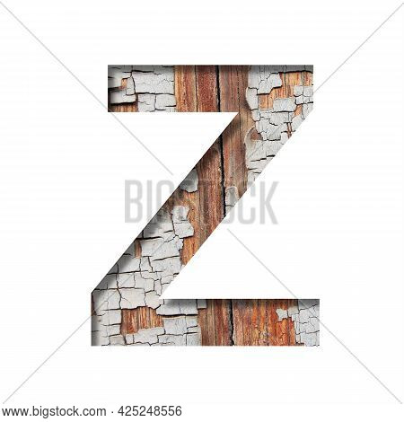 Vintage Backdrop Font.the Letter Z Cut Out Of Paper Against The Background Of An Old Wooden Wall Wit