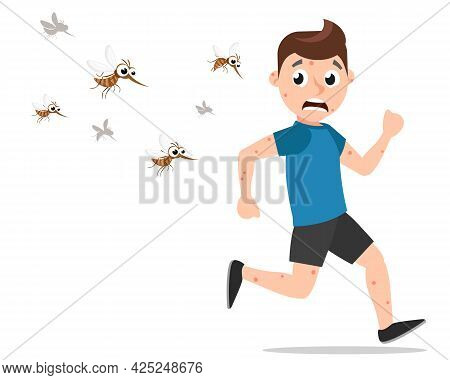 Mosquitoes Chasing A Bitten Guy On A White Background. The Character
