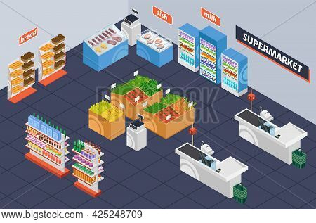 Isometric Supermarket. Retail Shop Shelving With Products. Grocery Store Interior With Checkout Desk
