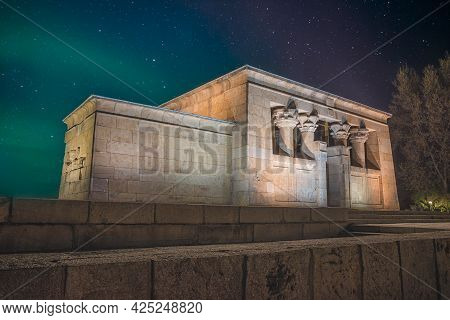 Madrid, Spain March 27, 2019. Night View Of The Rebuilt Temple Of