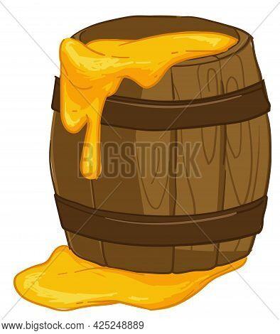 Sweet Honey In Wooden Jar, Healthy Product Vector