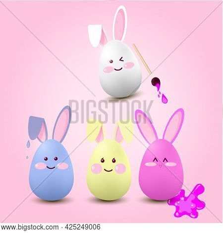 Illustration.funny Easter Eggs-hares Of Blue, Red,white Color On A Pink Background With An Inscripti