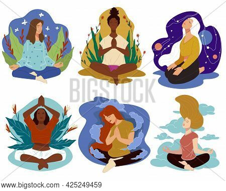 Meditation And Yoga, Sports And Wellbeing Vector