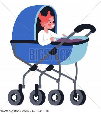 Small Girl Toddler Sitting In Perambulator Vector