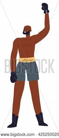 Boxing Man Winning Fight, Sportsmen In Gloves