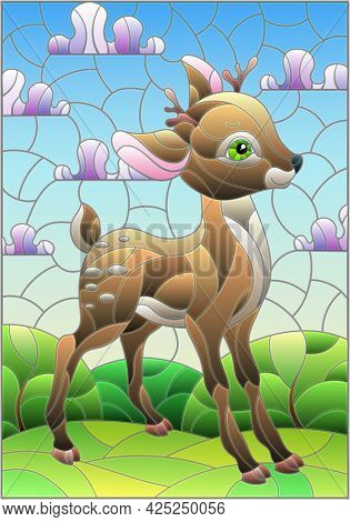Illustration In Stained Glass Style With A Fawn On The Background Of Green Meadows, Mountains And Cl
