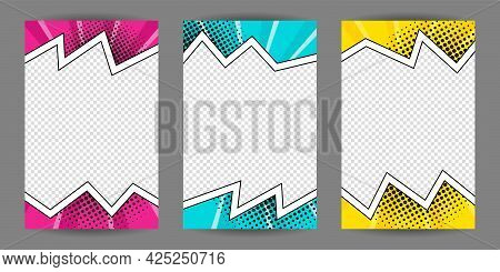 Set Of Comic Banners. Cartoon Frame On A Halftone Background. Pop Art Template For Web Design, Banne