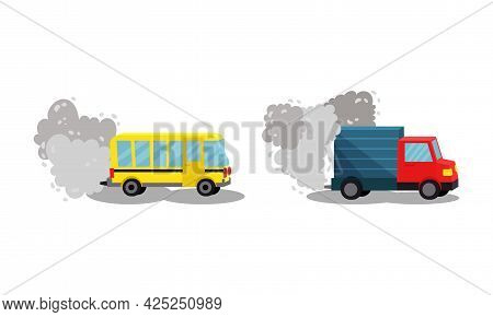 Air Pollution Sources With Traffic Smoke And Fuel Emission Vector Scene Set
