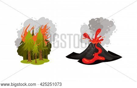 Air Pollution Sources With Smoke From Volcano Eruption And Destructive Fire Vector Scene Set