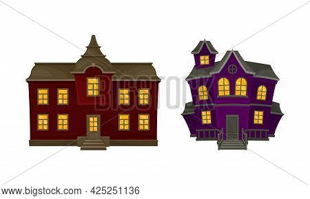 Gloomy Halloween Houses With Scary Shiny Yellow Windows Vector Set