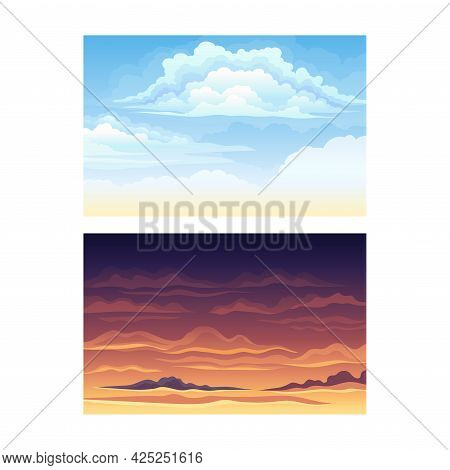 Sky Scene With Clouds Drifting Across It And Staying Still Vector Set