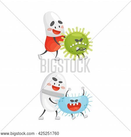 Medical Tablet And Pill Fighting Against Virus And Microbes Vector Set
