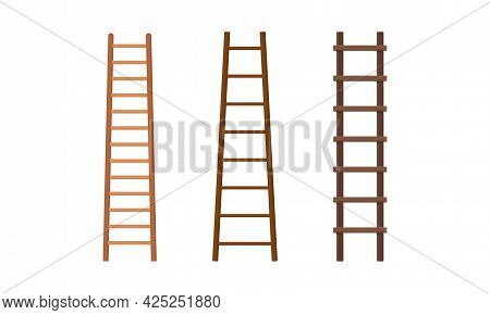 Wooden Step Ladder For Domestic And Construction Need Vector Set