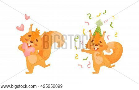 Fluffy Squirrel Character Cheering With Confetti And Holding Heart Vector Set