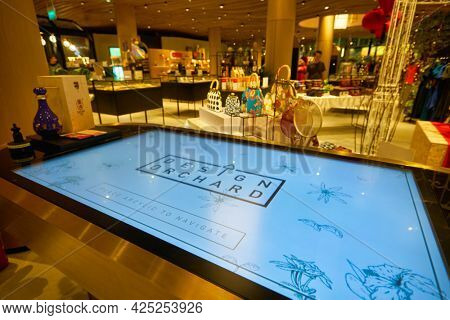 SINGAPORE - CIRCA JANUARY, 2020: close up shot of interactive digital kiosk at Design Orchard store in Singapore.
