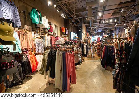 SINGAPORE - CIRCA JANUARY, 2020: interior shot of Superdry store in Singapore.