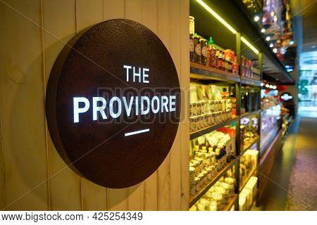 SINGAPORE - CIRCA JANUARY, 2020: close up shot of the Providore sign as seen at Singapore.