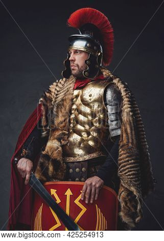 Roman Empire Soldier Posing With Sword And Shield