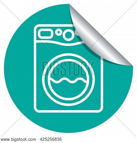 Laundry Machine Icon On A Peeling Sticker Label. White Symbol Of Clothes Washing Machine On A Green