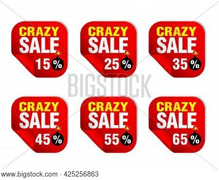 Crazy Sale Red Sticker Set With Bomb Icon. Sale 15%, 25%, 35%, 45%, 55%, 65% Off. Vector Illustratio