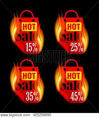 Hot Sale Stickers Set With Red Burning Package. Sale Stickers 15%, 25%, 35%, 45% Off. Vector Illustr
