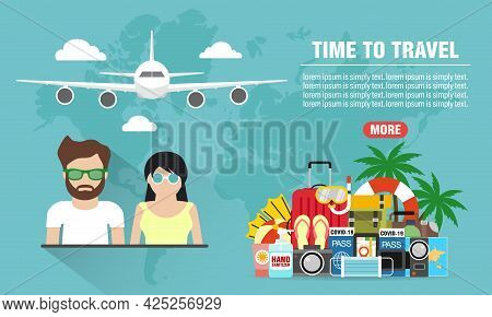 Summer Holiday. Time To Travel Young People Concept Design Flat Banner. Travel Icon. Safe Journey. V