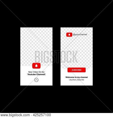 Social Media Promotion Stories Set. Notification Button. Channel Name. Transparent Placeholder. Put