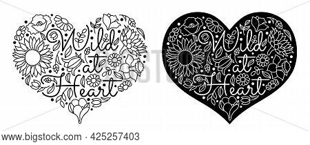 Wildflowers In A Hand Drawn Line Art Style.
