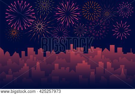 Urban Background With Celebrated Festive Firecracker Over Town. Night Cityscape With Fireworks. Vect