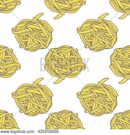 Vector Seamless Pattern From A Nest Of Yellow Noodles. Nesting Noodles Of Macaroni Drawn In A Sketch