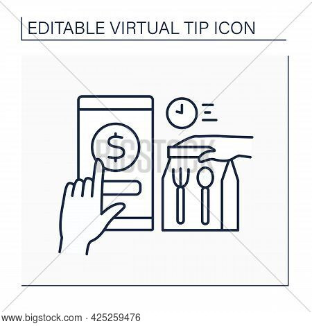 Delivery Line Icon. Donations For Fast And Safe Order Delivery. Online Tips. Virtual Tips Concept. I