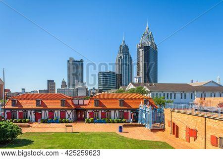 Mobile, Alabama, USA skyline with historic Fort Conde.