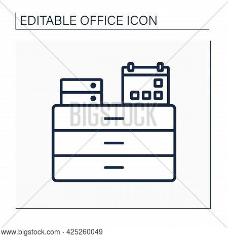 Commode Line Icon. Furniture. Commode With Calendar And Folders On It. Workplace. Office Concept. Is