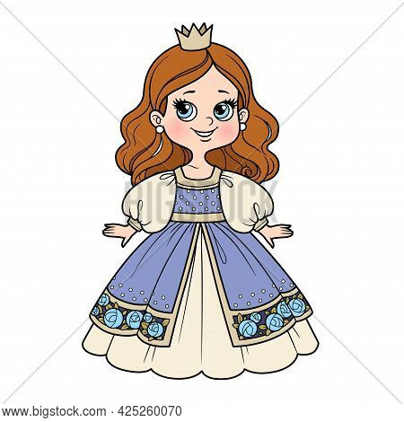 Cute Cartoon Princess Girl In Ball Gown And Little Crown Color Variation For Coloring Page On A Whit