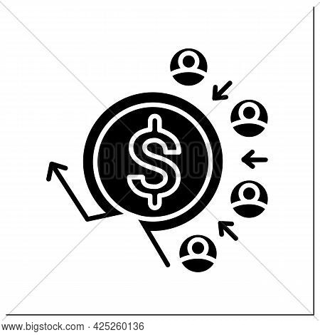 Customer Acquisition Costs Glyph Icon.traffic Customers.positive And Profitable Stream Of Clients.pa