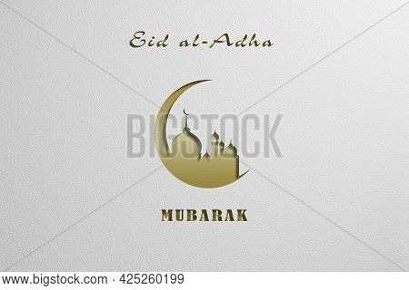 Eid Al-adha. Holiday Card With Paper Effect. Feast Of The Sacrifice Close Up