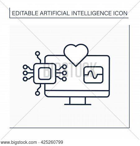 Ai In Medicine Line Icon. Modern Technologies. Autonomous Heartbeat Diagnosis. Computer Screen. Ai D