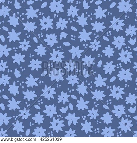 Blue Flowers And Leaves Vector Seamless Pattern. Background With Decorative Flowers And Leaves Seaml